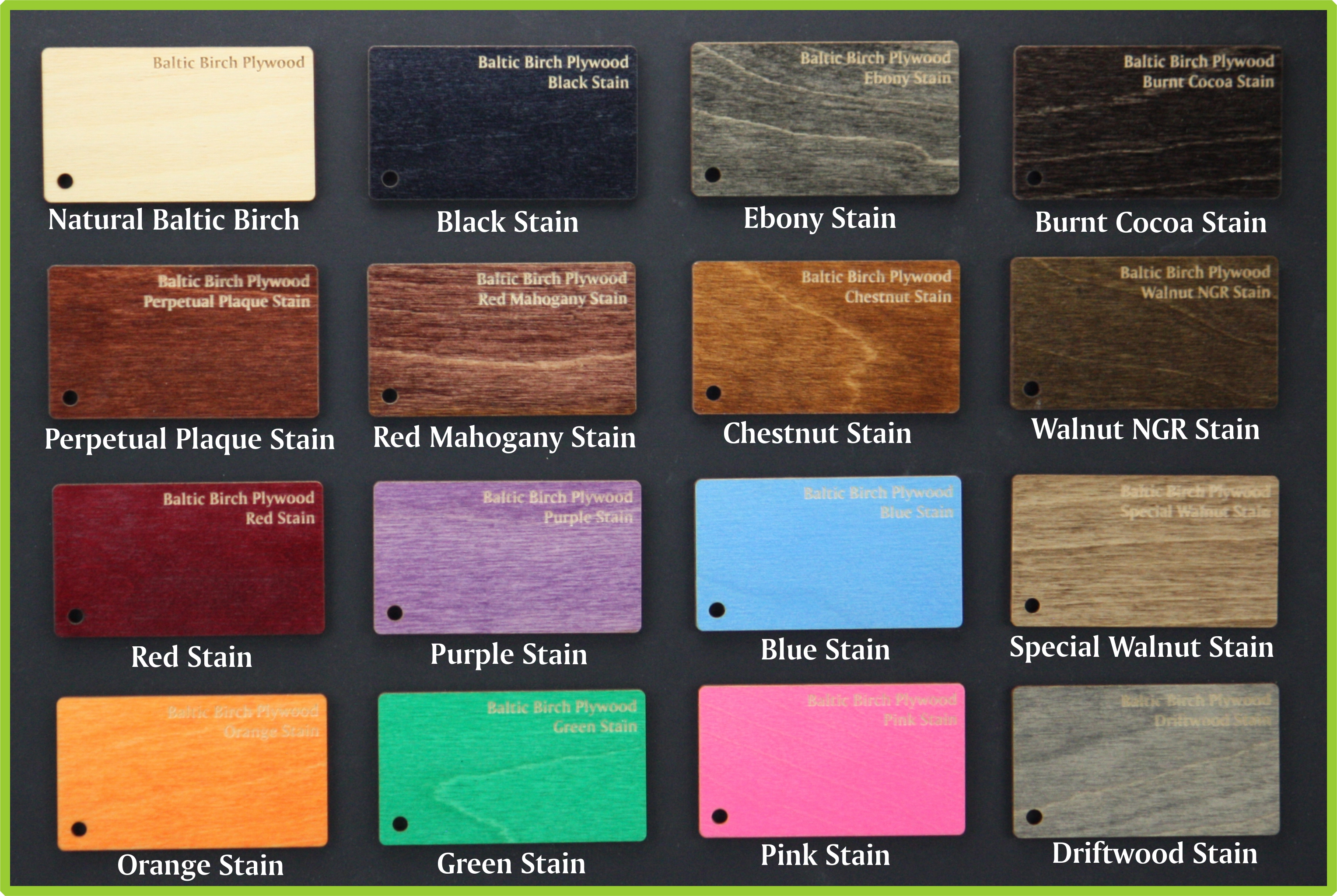"Color Lacquer or Stained Hardwood Strip<br/> 4.5"" x 14.5"" x (1/16"", 3/32"" or 1/8"") - LSTC13-M-1/8"